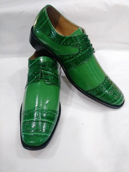 Mens Two Tone Tie Up Style Wingtip Green ~ Apple ~ Lime Lace UP Dress Shoes