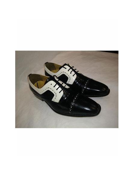 Mens Two Tone Black & White Cap Toe Oxford Tuxedo Dress Shoe