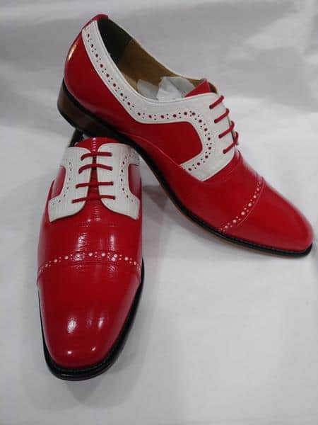 Mens Two Tone Lace Up Red & White Cap Toe Lace UP Shoe