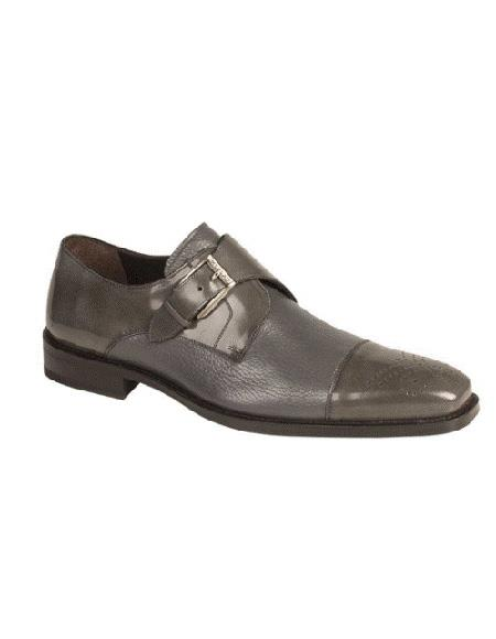 Mezlan Brand Cap Toe Grey Leather Cushioned Insole Shoe