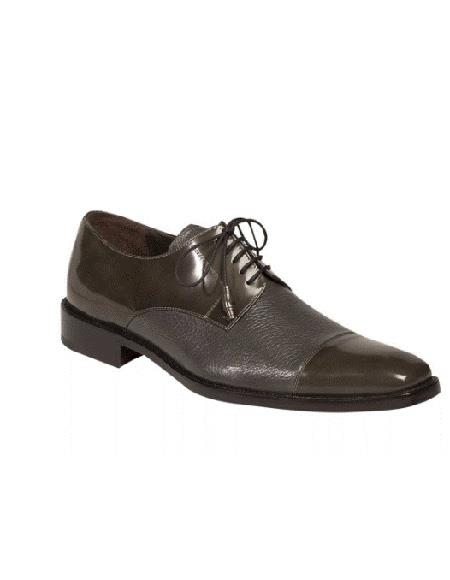 Mezlan Brand Grey Five Eyelet Lacing Cap Toe Cushioned Insole Shoe