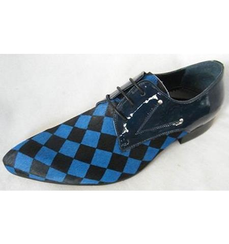 Men's Soft Genuine Leather Three Eyelet Lacing Cap Toe Print Black ~ Blue Unique Zota Mens Dress Shoe