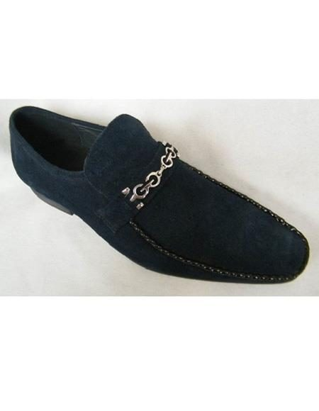 Men's Slip On Navy Chain Link Strap Leather Cap Toe Unique Zota Mens Dress Shoe