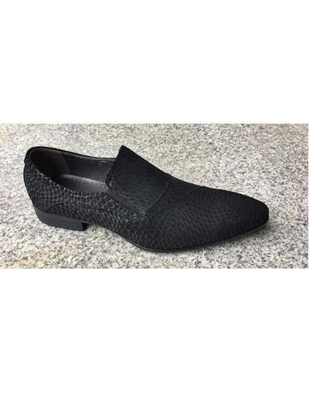 Men's Black Soft Genuine Leather Cushioned Insole Slip On Textured Design Unique Zota Mens Dress Shoe