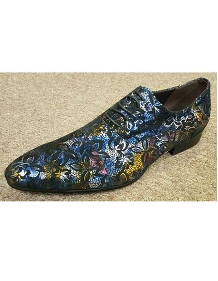 Men's Purple Cushioned Insole Multi Color Printed Four Eyelet Lacing Unique Zota Mens Dress Shoe