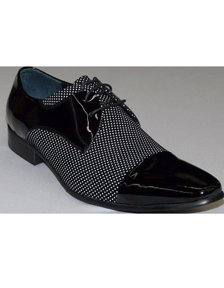 Men's Black ~ White Cushioned Insole Three Eyelet Lacing Cap Toe Unique Zota Mens Dress Shoe