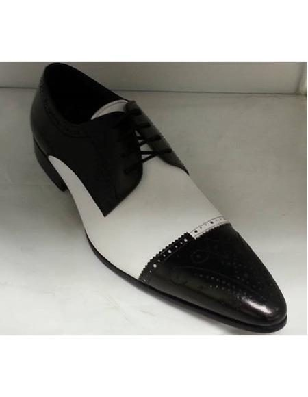 Men's Cushioned Insole Four Eyelet Lacing Black ~ White Leather Unique Zota Mens Dress Shoe