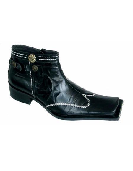 Men's Black Soft Genuine Leather Cushioned Insole Square Unique Zota Mens Dress Shoe