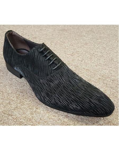 Men's Black Unique Pattern Five Eyelet Lacing Cushioned Insole Unique Zota Mens Dress Shoe