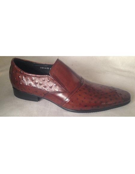 Men's Brown Slip On Leather Pattern Cushioned Insole Unique Zota Mens Dress Shoe