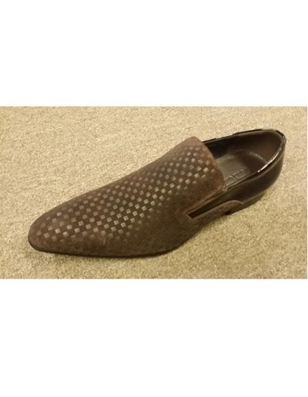 Mens Black Mini Checkered Design Slip On Soft Genuine Leather Dress Shoe
