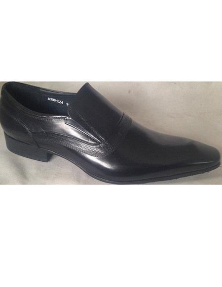 Men's Black Cushioned Insole Cap Toe Slip On Soft Genuine Leather Unique Zota Mens Dress Shoe