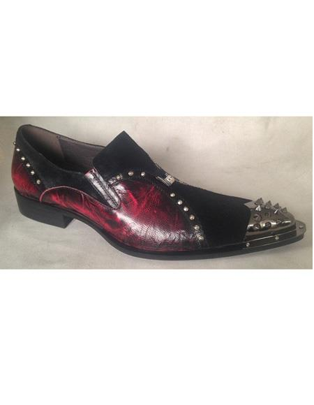 Men's Black ~ Burgundy Leather Slip On Cushioned Insle Unique Zota Mens Dress Shoe