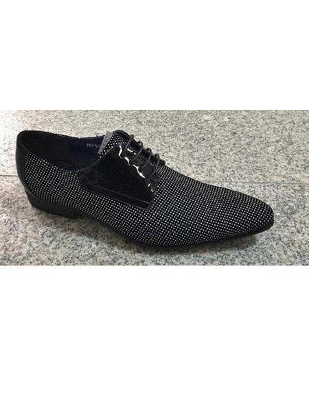 Men's Cushioned Insole Polka Dot Four Eyelet Lacing Black ~ White Soft Genuine Leather Unique Zota Mens Dress Shoe
