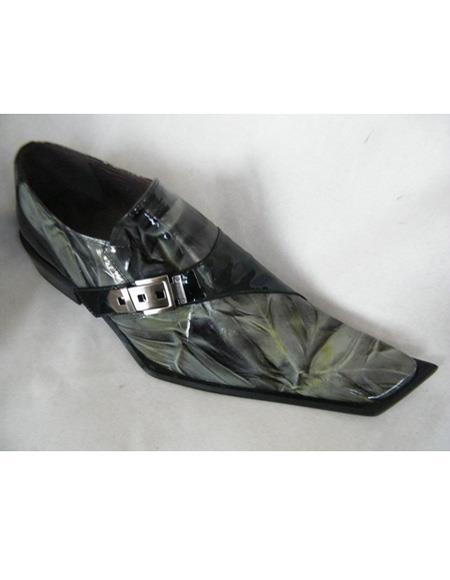 Men's Slip On Black ~ Green Leather Cushioned Insole Unique Zota Mens Dress Shoe