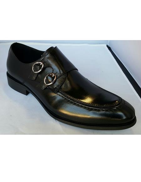 Men's Black Double Buckle Slip On Cushioned Insole Soft Genuine Leather Unique Zota Mens Dress Shoe