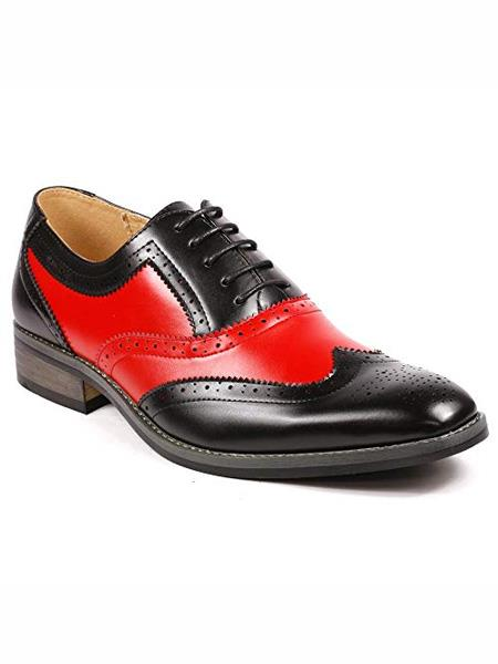 Men's Two Tone Wing Tip Lace Up Oxford Black / Red Dress Shoes