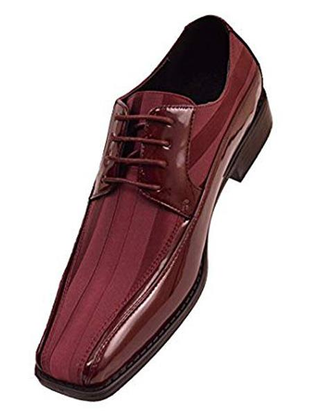 Mens Cushion Insole Lace Up Style Burgundy Dress Shoes