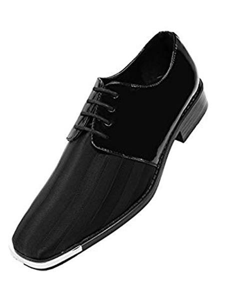 Mens Cushion Insole Lace Up Style Black Pinstripe Dress Shoes