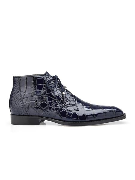 Men's Authentic Belvedere Brand Cushion Insole Cap Toe Lace Up Stefano Navy Belvedere Shoes