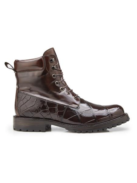 Men's Authentic Belvedere Brand Cushion Insole Cap Toe Lace Up Logan Chocolate Belvedere Shoes
