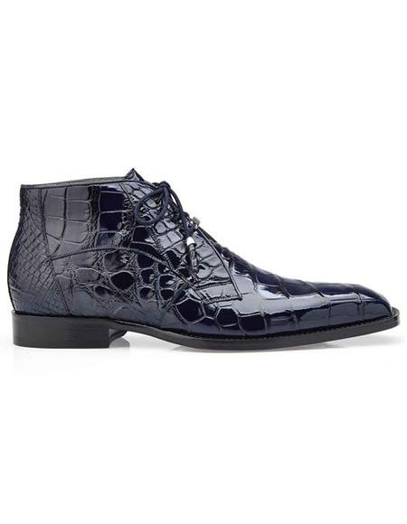 Mens Authentic Belvedere Brand Blue Three Eyelet Lacing Cap Toe Shoe