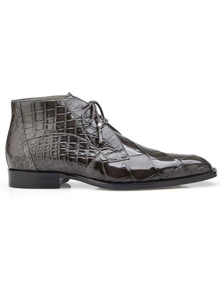 Mens Authentic Belvedere Brand Gray Lace Up Cap Toe Shoes