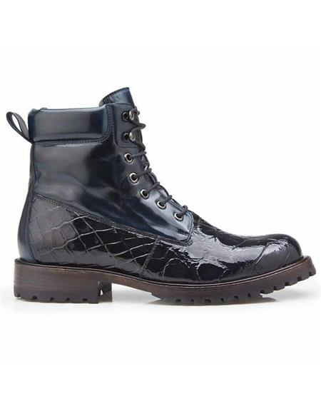 Mens Authentic Belvedere Brand Blue Alligator Lace Up Cap Toe Shoe