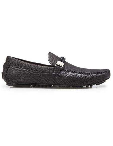 Mens Authentic Belvedere Brand Slip On Black Calf ~ Leather Shark Skin Shoe