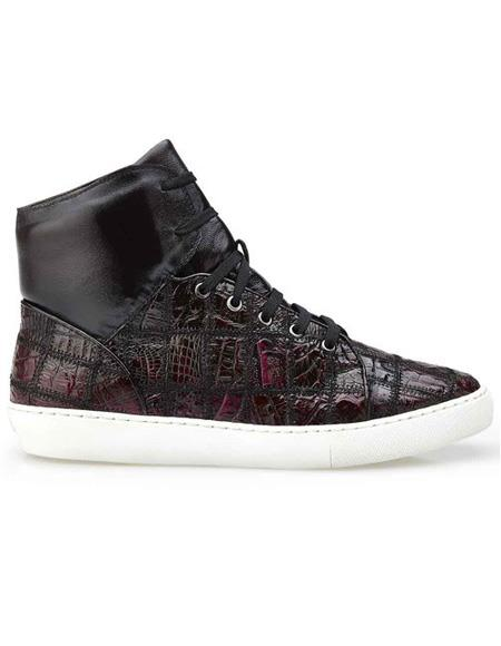 Mens Authentic Belvedere Brand Burgundy Crocodile Patch Work Lace Up Shoe