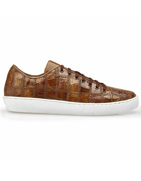 Mens Authentic Belvedere Brand Lace Up Brown Crocodile Shoe