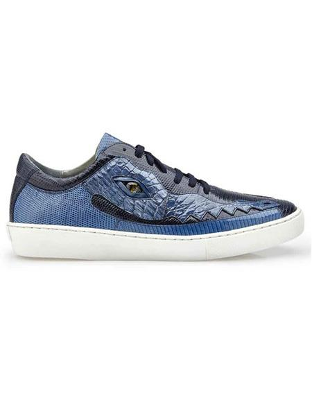 Mens Authentic Belvedere Brand Lace Up Jean Crocodile Navy ~ Blue Shoe