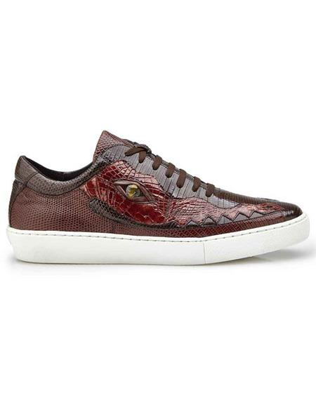 Mens Authentic Belvedere Brand Brown Crocodile Lace Up Shoe