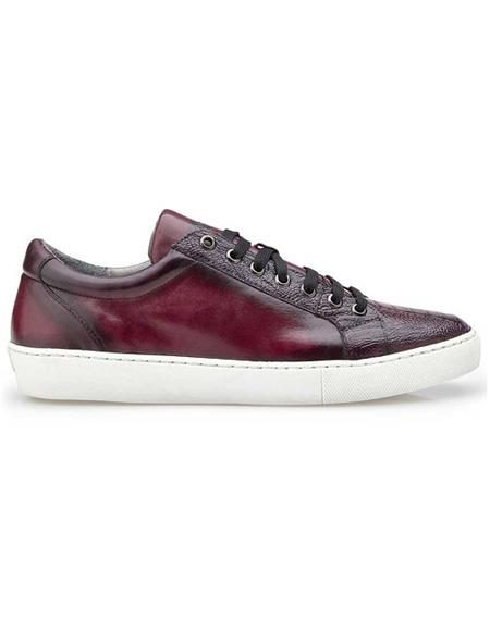 Mens Authentic Belvedere Brand Lace Up Ostrich Burgundy Shoe