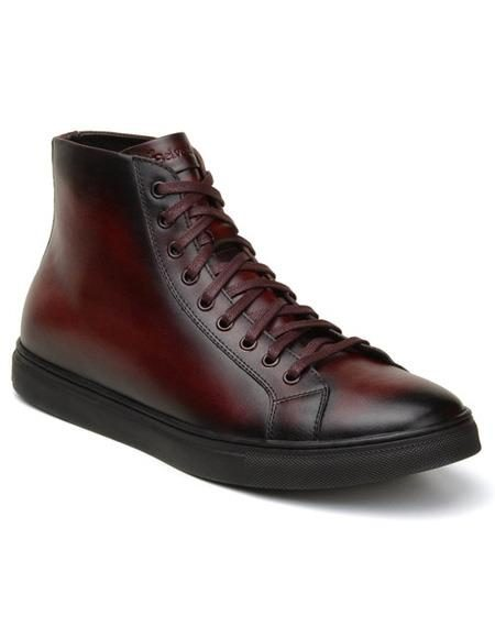 Mens Authentic Belvedere Brand Lace Up Burgundy Shoe