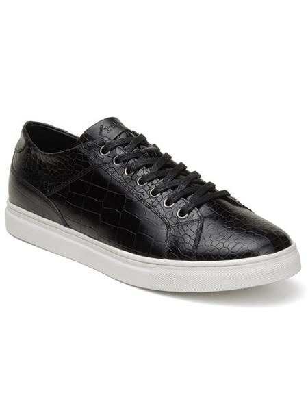 Mens Authentic Belvedere Brand Lace Up Black Shoe