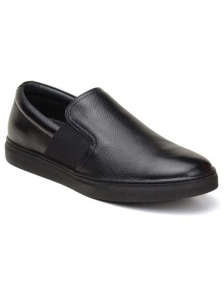 Mens Authentic Belvedere Brand Slip On Black Shoe