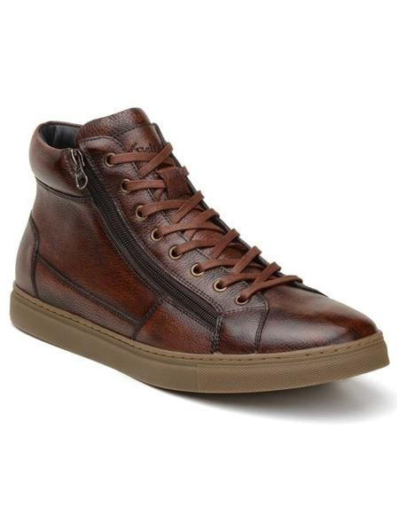 Mens Authentic Belvedere Brand Cognac Lace Up Shoe