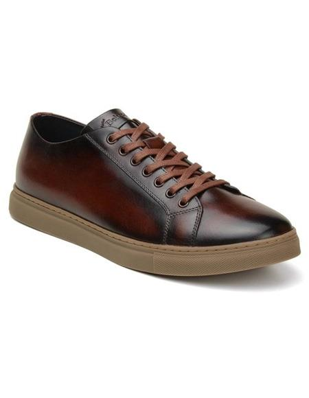 Mens Authentic Belvedere Brand Lace Up Cognac Shoe