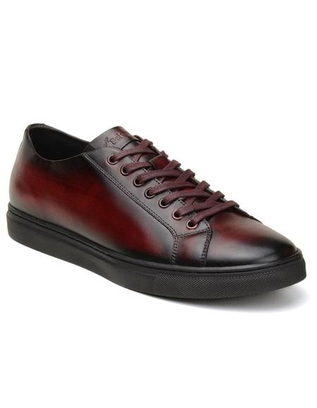 Mens Authentic Belvedere Brand Burgundy Lace Up Shoe