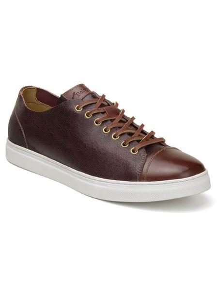 Mens Authentic Belvedere Brand Burg ~ Cognac Lace Up Shoe