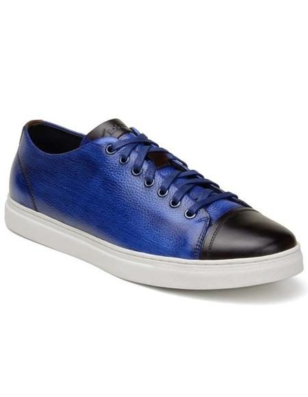 Mens Authentic Belvedere Brand Blue ~ Brown Lace Up Shoe