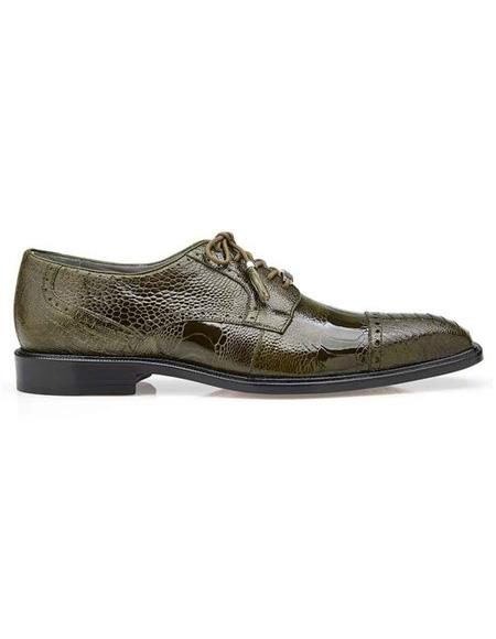 Mens Authentic Belvedere Brand Green Lace Up Ostrich Shoe