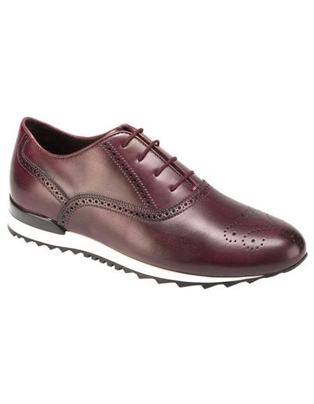 Mens Authentic Belvedere Brand Burgundy Calf ~ Leather Lace Up Shoe