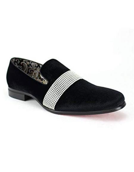 Mens Black Velvet ~ Velour Dress Slip On Loafer ~ Shoe