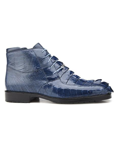 Mens Authentic Belvedere Brand Cushoned Insole Leather Lining Blue Jean Lace Up Shoe