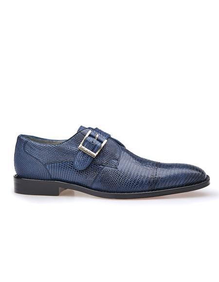 Mens Authentic Belvedere Brand Slip On Cap Toe Matalic Accent Navy Shoe
