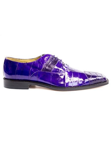 Mens Authentic Belvedere Brand Purple Lace Up Leather Lining Shoe