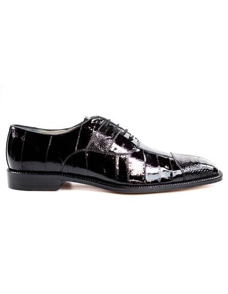 Mens Authentic Belvedere Brand Black Leather Lining Shoe