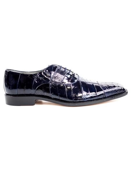 Mens Authentic Belvedere Brand Leather Lining Lace Up Navy Shoe